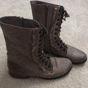 Betsey Johnson Tan Combat Boots